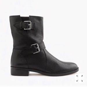J. Crew Black Speckled Leather Moto Boots Size 7.5